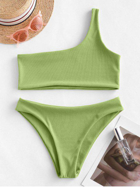 hot ZAFUL One Shoulder Ribbed Bikini Swimsuit - GREEN ONION M Mobile