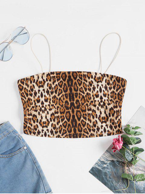 chic ZAFUL Animal Print Crop Cami Top - LEOPARD S Mobile