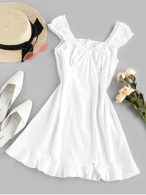 ladies ZAFUL Frilled Flounce Mini A Line Dress - WHITE S Mobile