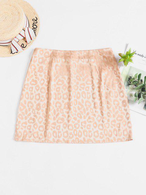ladies ZAFUL Leopard Slit Mini Skirt - CAMEL BROWN M Mobile