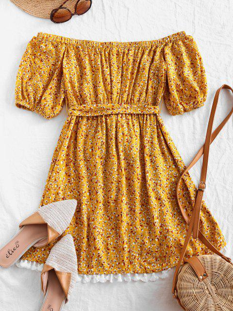 fashion ZAFUL Tassels Belted Ditsy Floral Off Shoulder Dress - SUN YELLOW S Mobile