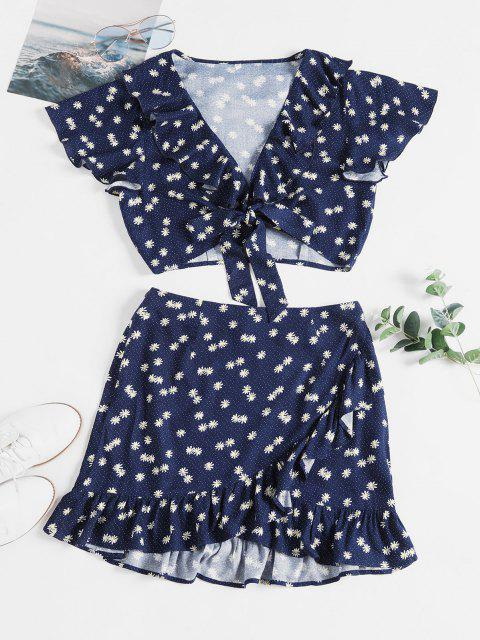 chic ZAFUL Daisy Print Knotted Ruffles Two Piece Suit - LAPIS BLUE XL Mobile
