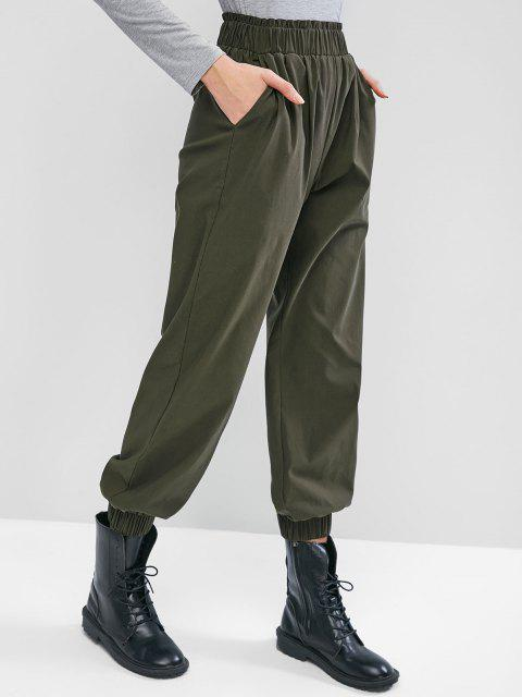 women's ZAFUL Ruffle High Waisted Pocket Jogger Pants - MEDIUM SEA GREEN XL Mobile