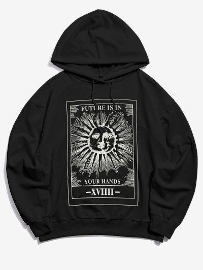 Sun Letter Graphic Drawstring Hoodie - Black L