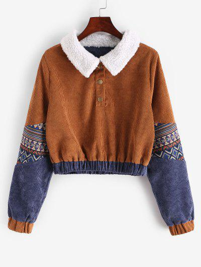 Snap Button Graphic Corduroy Sweatshirt - Light Brown S