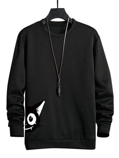 Cartoon Cat Print Casual Sweatshirt - Black Xs