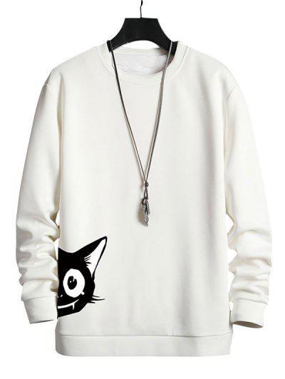Cartoon Cat Print Casual Sweatshirt - White L
