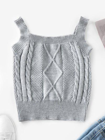 ZAFUL Cable Knit Vest Sweater - Gray Cloud M