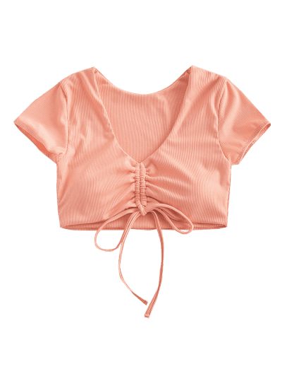 ZAFUL Cinched Ribbed Swim Top