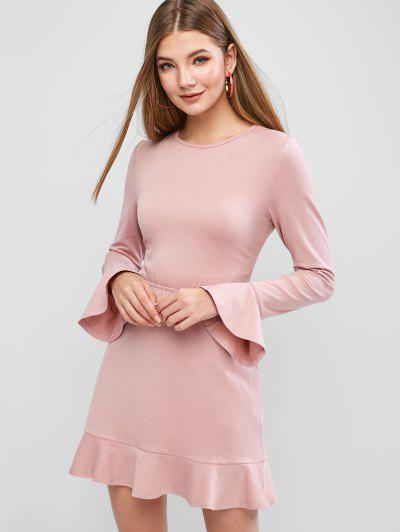 ZAFUL Knotted Backless Solid Flare Dress - Rose L