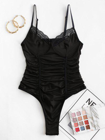 Ruched Lace Trim Underwire Bodysuit - Black M