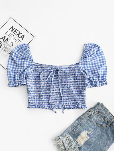 ZAFUL Knotted Smocked Gingham Crop Blouse - Slate Blue S