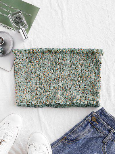 ZAFUL Smocked Ditsy Floral Bandeau Top - Cyan Opaque S