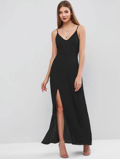 ZAFUL Slit Maxi Cami Dress - Black L