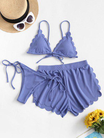ZAFUL Ribbed Scalloped Three Pieces String Bikini Swimwear - Cornflower Blue S