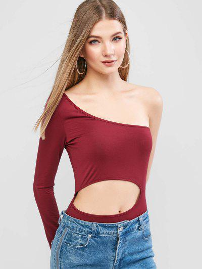 ZAFUL Cut Out One Shoulder Solid Bodysuit - Blood Red S