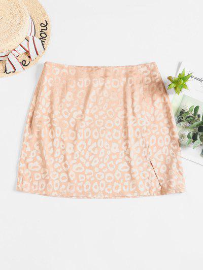 ZAFUL Leopard Slit Mini Skirt - Camel Brown M