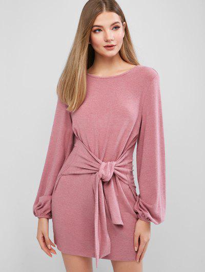 ZAFUL Mini Robe Décontractée Taille Nouée à Manches Longues - Rouge à Lèvres Rose S