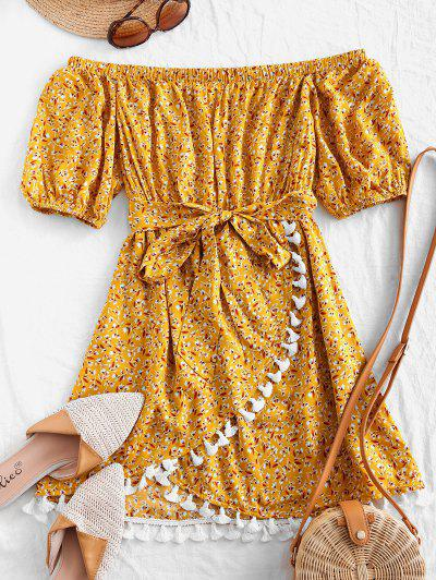 ZAFUL Tassels Belted Ditsy Floral Off Shoulder Dress - Sun Yellow S