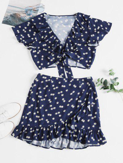 ZAFUL Daisy Print Knotted Ruffles Two Piece Suit - Lapis Blue M