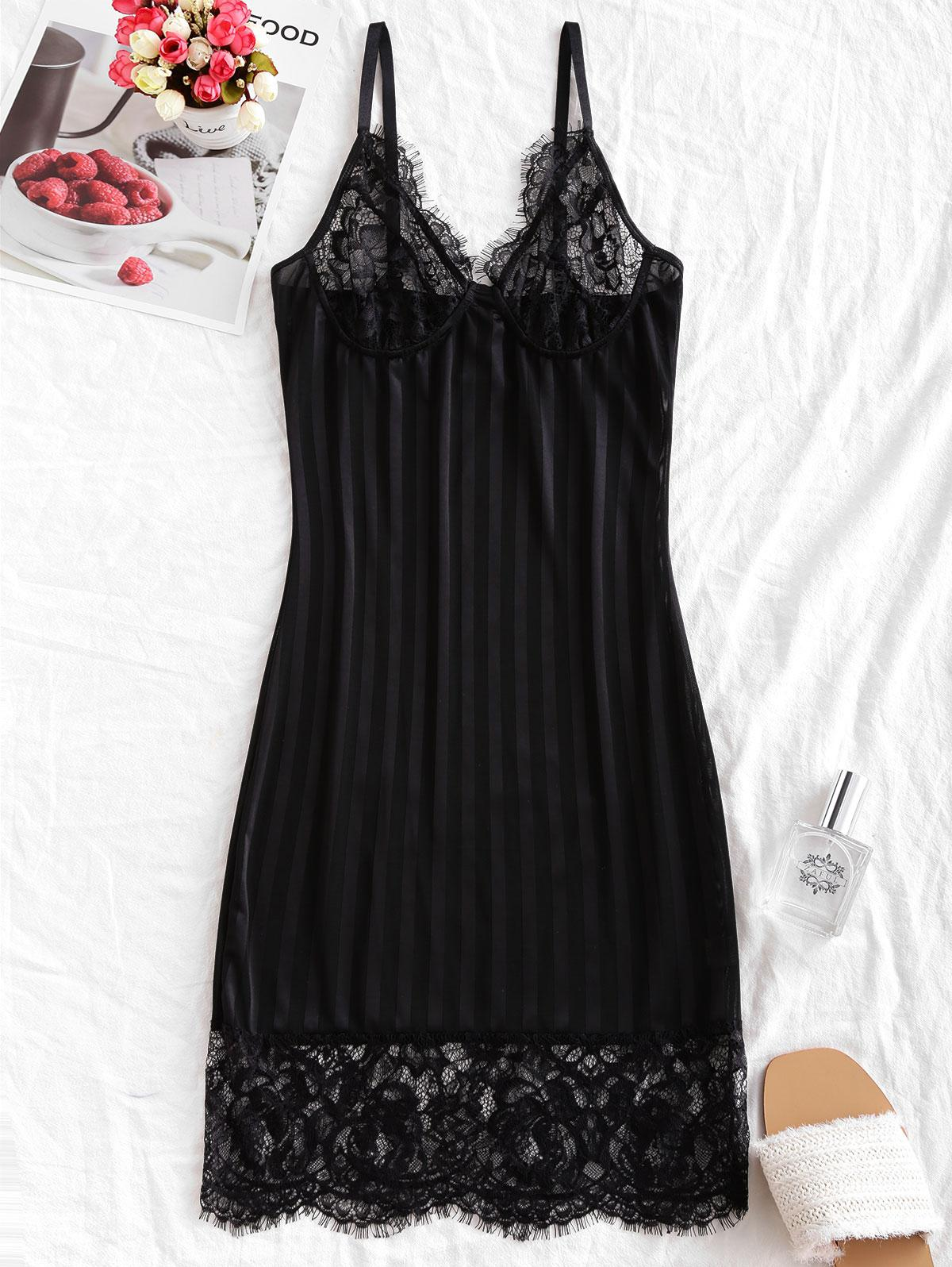 Lace Panel Shadow Stripes Sleepwear Bodycon Dress