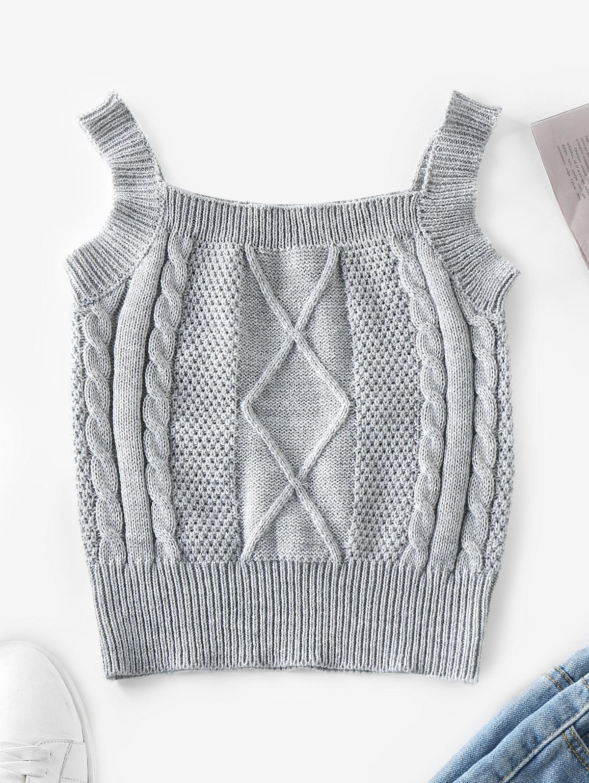 ZAFUL Cable Knit Vest Sweater