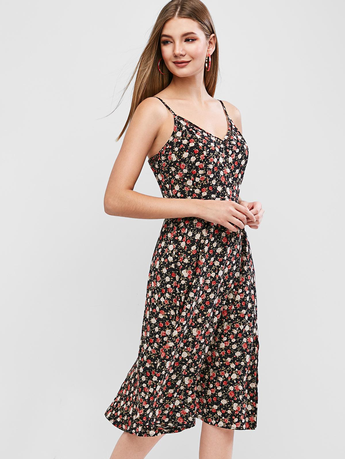 ZAFUL Tiny Floral Slit Flared Cami Dress