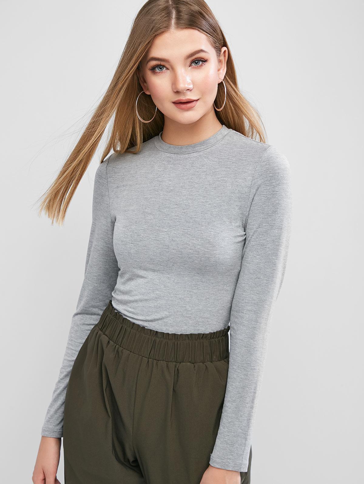 ZAFUL Long Sleeve Heather Basic T-shirt фото