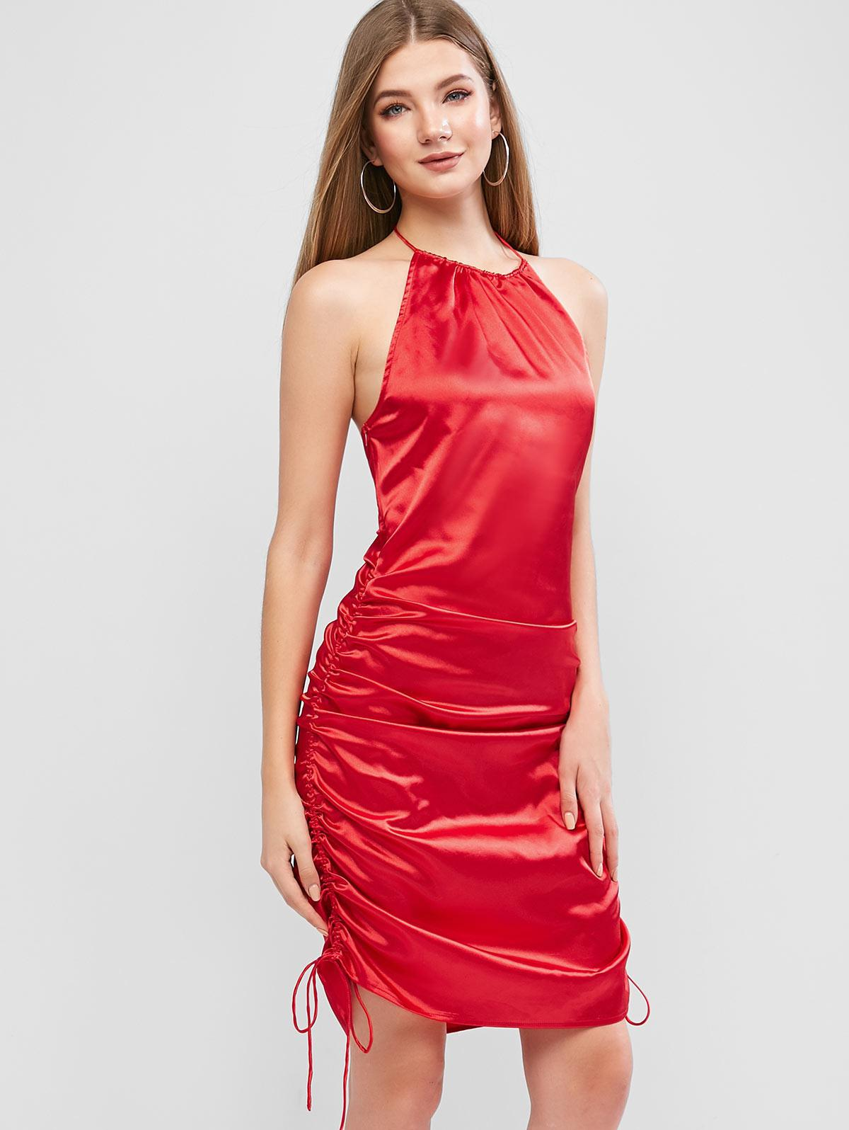 ZAFUL Satin Cinched Backless Halter Tie Dress