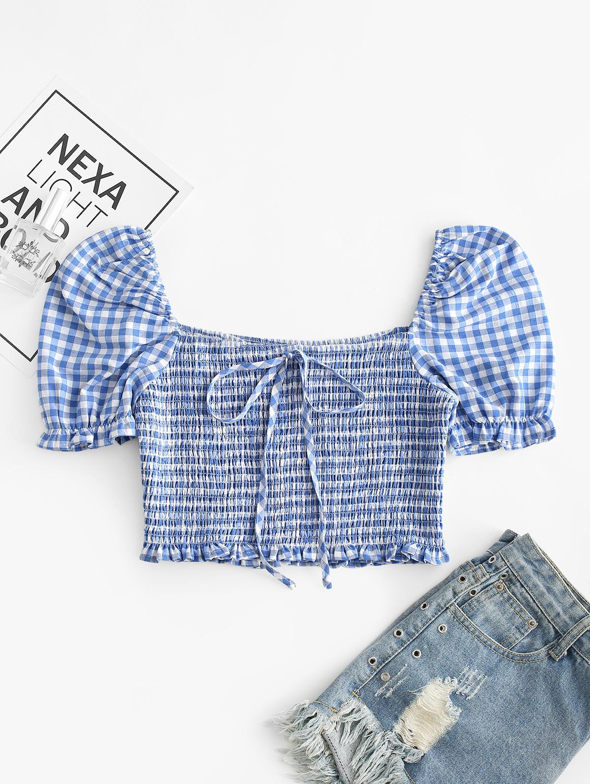 ZAFUL Knotted Smocked Gingham Crop Blouse