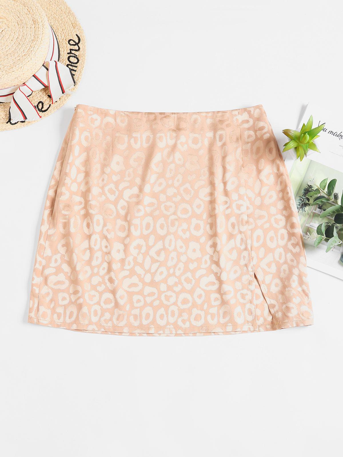 ZAFUL Leopard Slit Mini Skirt
