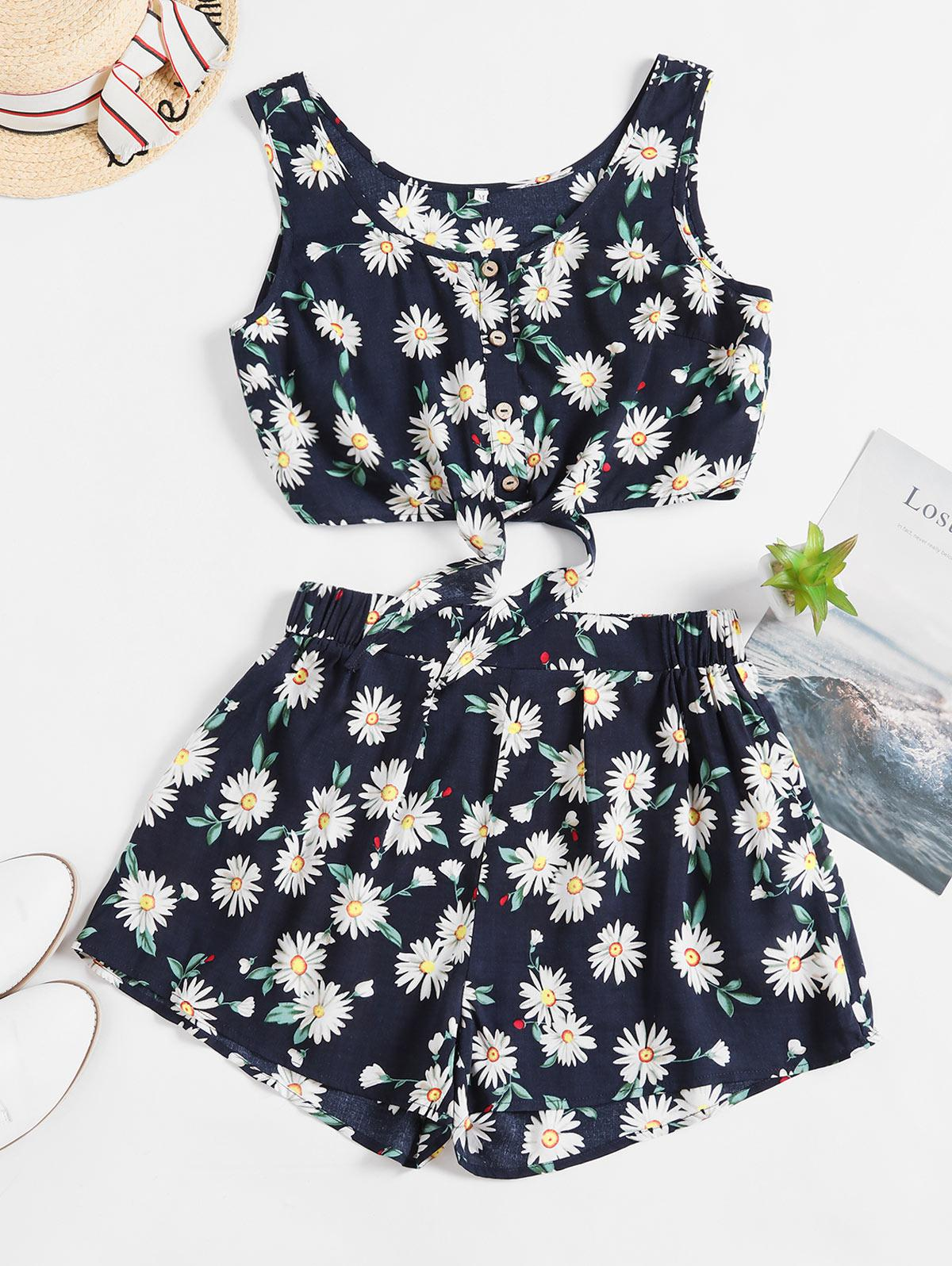 ZAFUL Floral Button Up Tie Hem Wide Leg Shorts Set