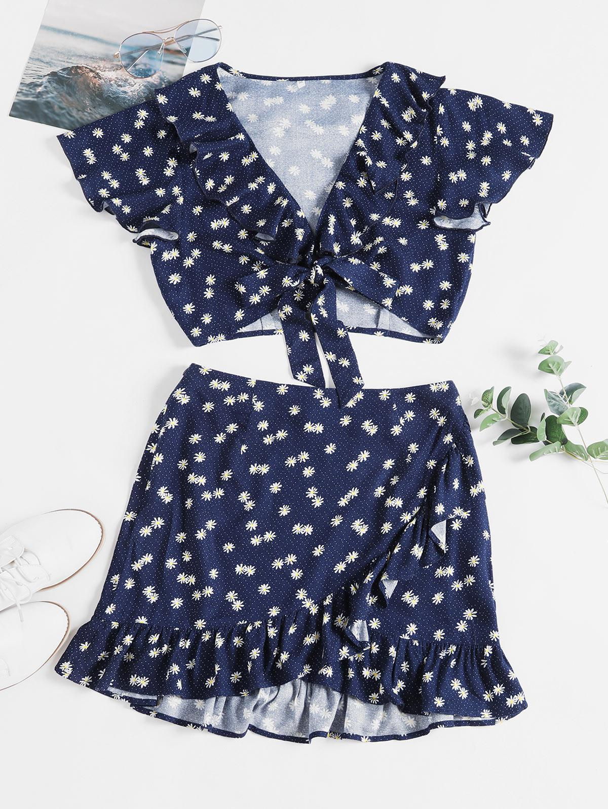 ZAFUL Daisy Print Knotted Ruffles Two Piece Suit