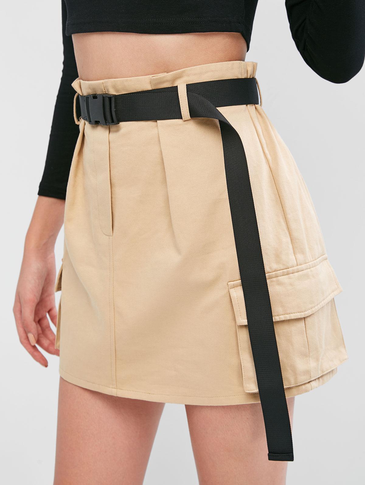 ZAFUL Pockets Belted Mini Paperbag Skirt