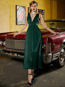 ZAFUL أكمام Ruched وقطع لامعة فستان ماكسي - متوسطة غابة خضراء S