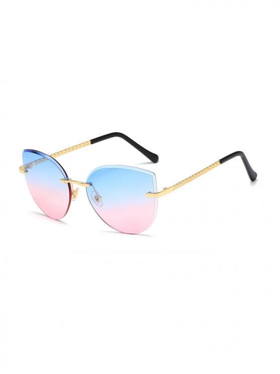 fashion Gradient Cut Edge Rimless Sunglasses - POWDER BLUE