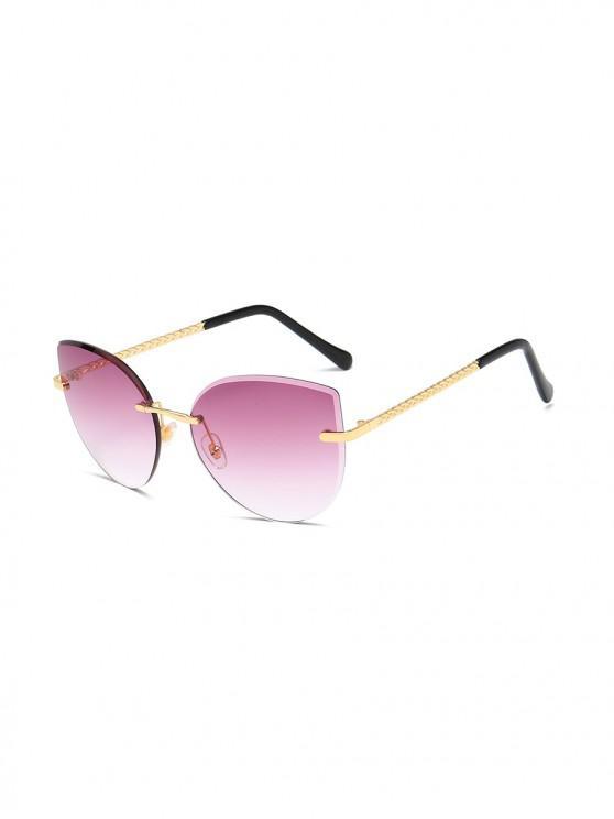buy Gradient Cut Edge Rimless Sunglasses - MAUVE