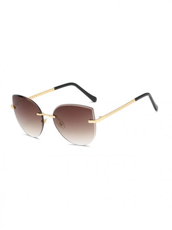 best Gradient Cut Edge Rimless Sunglasses - DEEP BROWN
