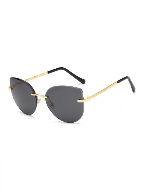 new Gradient Cut Edge Rimless Sunglasses - BLACK