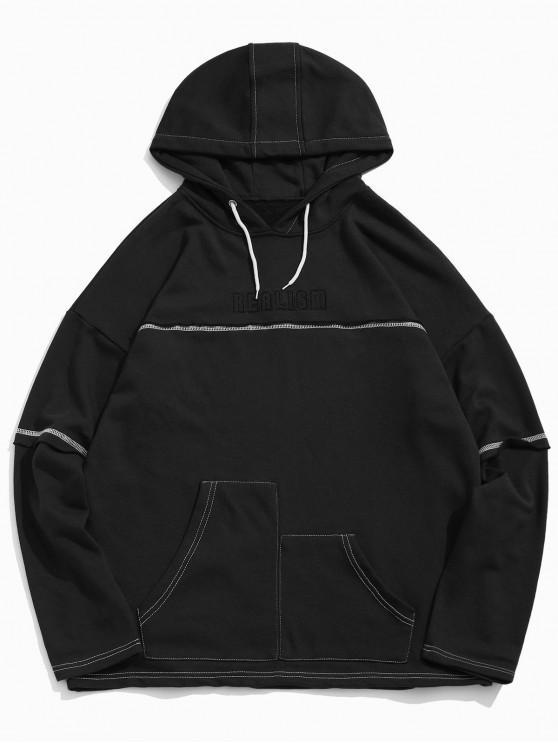 shops Realism Graphic Creative Pocket Drop Shoulder Hoodie - BLACK M