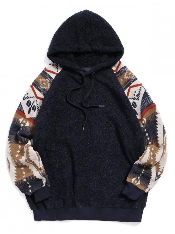 best Tribal Graphic Print Raglan Sleeve Teddy Hoodie - DENIM DARK BLUE 2XL