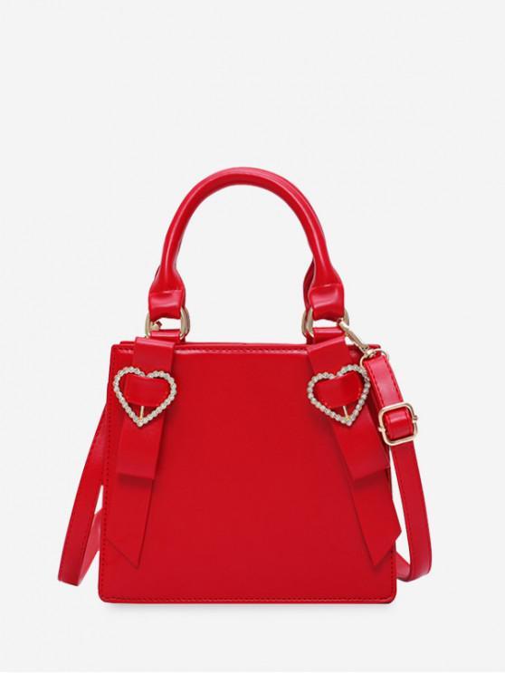 online Rhinestone Heart Top Handle Mini Sling Bag - RED