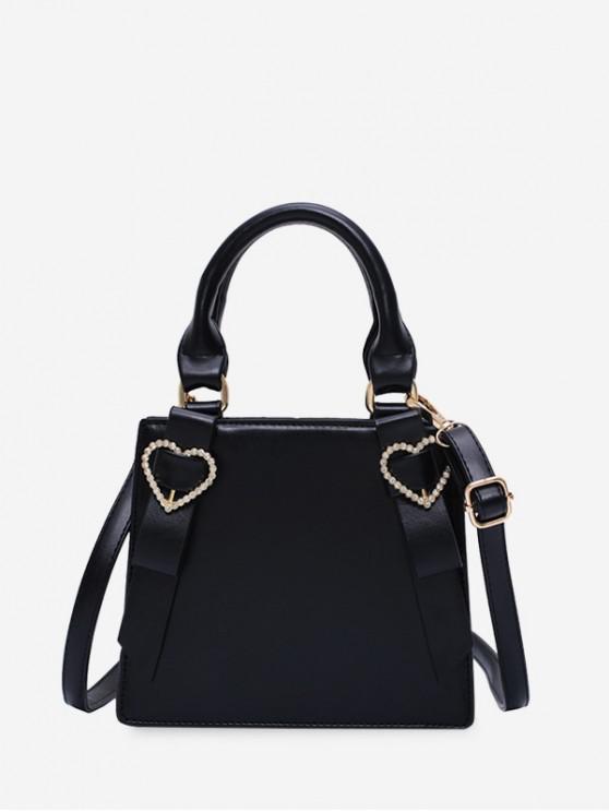 hot Rhinestone Heart Top Handle Mini Sling Bag - BLACK