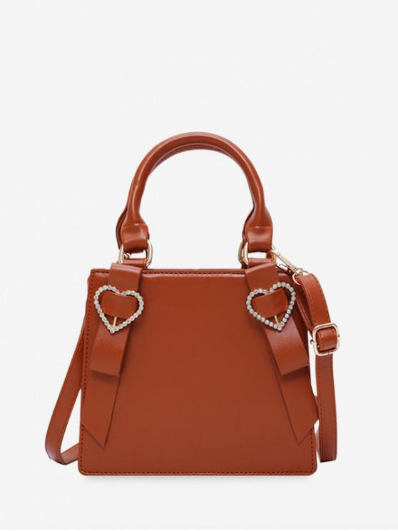 outfit Rhinestone Heart Top Handle Mini Sling Bag - BROWN