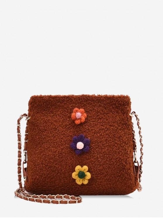 outfits Floral Faux Fur Chain Crossbody Bag - BROWN