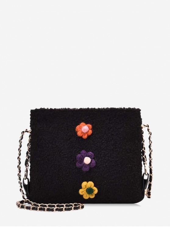 latest Floral Faux Fur Chain Crossbody Bag - BLACK
