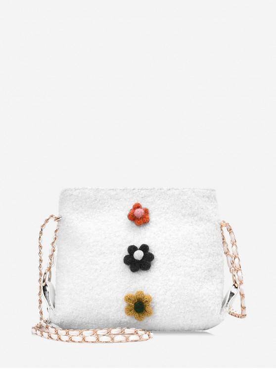 Floral Faux Fur Cadeia Crossbody Bag - Branco