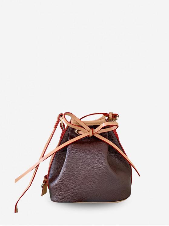 Bowknot Mini cordão Bucket Bag - Castanho Escuro