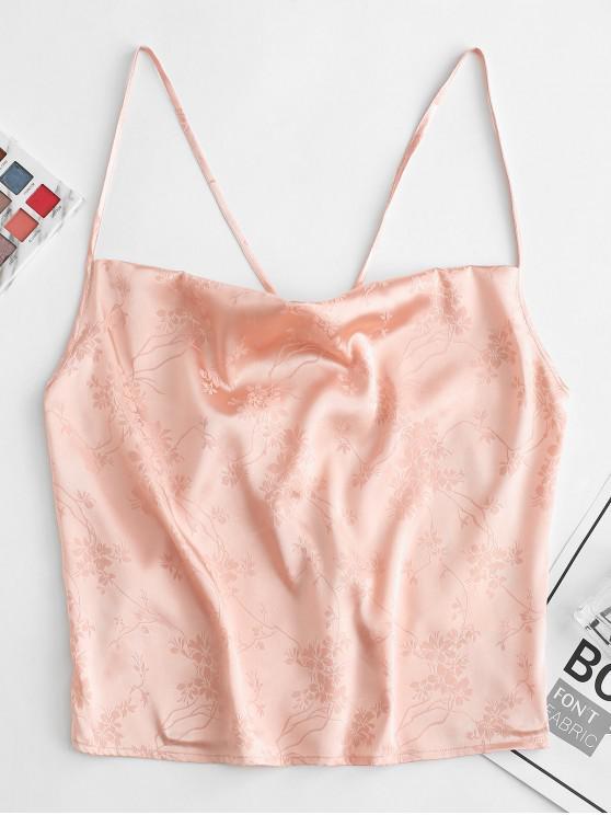 shops ZAFUL Flower Jacquard Crop Camisole - PINK ROSE L
