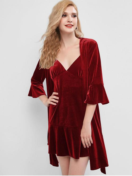 ladies Velvet Nightgown and Robe Set - RED M
